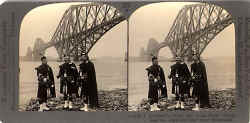 stereoscopic view by Keystone View Company  -  The Forth Rail Bridge and three pipers at South Queensferry