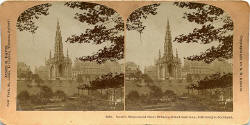 Stereoscopic view by BW Kilburn  -  The Scott Monument from Princes Street Gardens