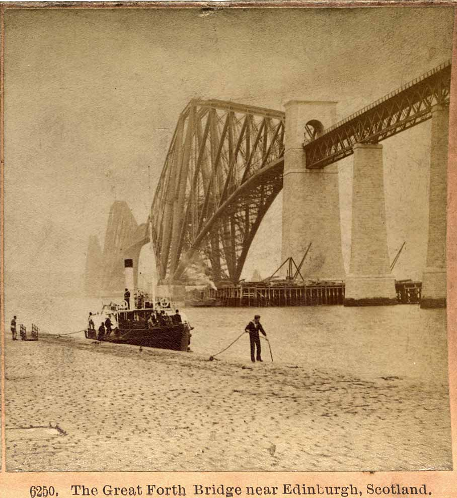 Enlargement from a stereo view by Kilburn  -  The Forth Bridge with ferry at South Queensferry Pier