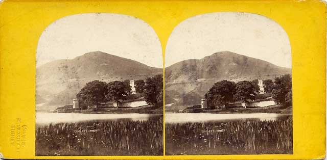 A stereo view with a blind stamp by Lennie  -  Holyrood Park  -  Arthur's Seat from Duddingston Loch