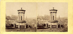 Stereo View sold by Lennie  -  Dugald Stewart's Monument and view of Edinburgh from Calton Hill
