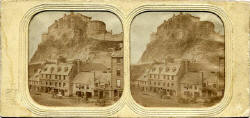Stereo View of The Grassmarket and Edinburgh Castle  -  on translucent tissue withsmall  holes cut out to allow more light to pass through  -  from Lennie