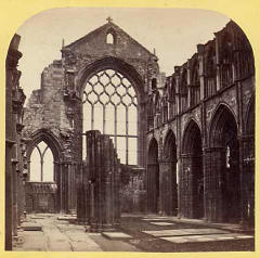 Image from a McGlashon Scottish Stereograph  -  Holyrood Abbey (East Window)