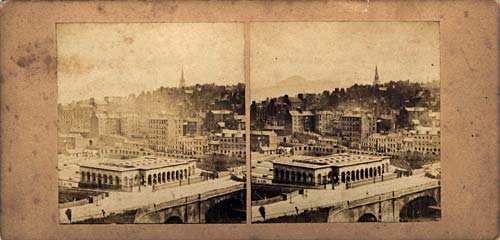 Stereo View by McGlashon  -  looking down on Waverley Bridge and the Old Town of Edinburgh, from the Sir Walter Scott Monument in Princes Street