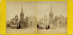 Stereo view by Walter Greenoak Patterson  -  Assembly Hall from the Castle Esplanade