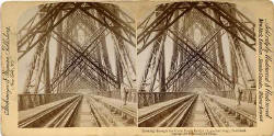Stereo View by Strohmeyer & Wyman  -  The Forth Rail Bridge and kilts