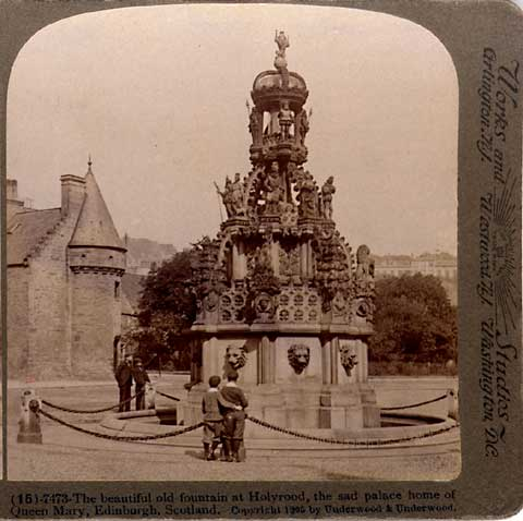 Enlargement from a Stereo View of the Fountain at Holyrood Palace  -  Underwood & Underwood