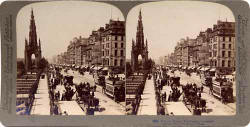 Underwood & Undrwood  -  Stereo View of Princes Street  -  Looking to the west from Waverley towards the Scott Monument  -  with trams