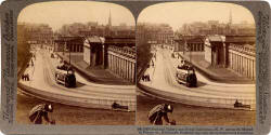 Stereo View looking down the Mound towards Princes Street and the National Galleries  -  Underwood & Underwood