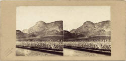 A stereo view by an unidentified photographer  -  Arthur's Seat from Old Dalkeith Road