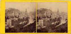 Stereo view by George Washington Wilson - Edinburgh Castle and Princes Street from Calton Hill