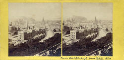 GW Wilson stereo card  -  Princes Street from Calton Hill
