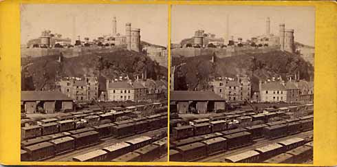 GW Wilson stereo card - Calton Hill from the North Bridge