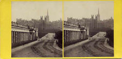 GW Wilson stereo card  -  Assembly Hall, etc. from Princes Street