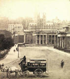 Enlargement of a stereo view by G W Wilson  -  National Galleries at the foot of the Mound.  Assembly Hall in the background