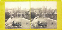 Stereo view by G W Wilson  -  National Galleries at the foot of the Mound.  Assembly Hall in the background