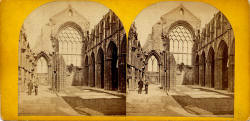 Stereo View of Holyrood Abbey, with two figures in the scene  -  Photographer not identified
