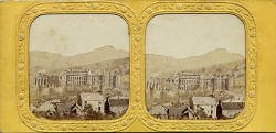 A stereo view by an unidentified photographer  - Holyrood Palace and Chapel  -  A view on translucent tissue with small holes to allow the light through