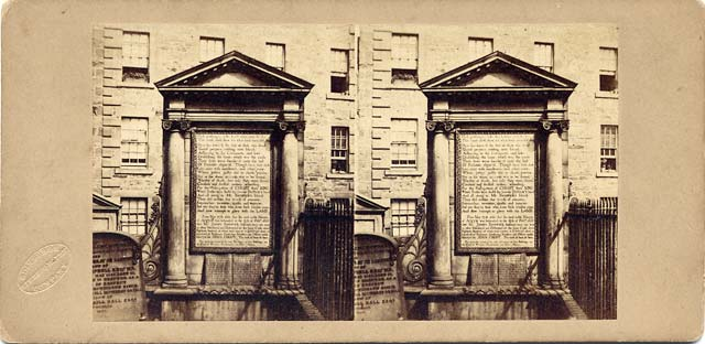 A stereo view by an unidentified photographer  -  The Martyrs' Tomb, Greyfriars' Churchyard