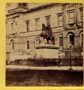Left hand picture from an early stereo pair  -  Register House and statue of the Duke of Wellington