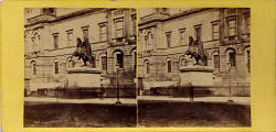 Early stereo pair of photos - Register House and statue of the Duke of Wellington