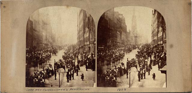 An early Stereo View by an unidentified photographer  -  Procession in the Royal Mile, Edinburgh, 1858