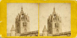 Stereo view by an unidentified photographer  -  The steeple of St Giles' Cathedral, Royal Mile, Edinburgh