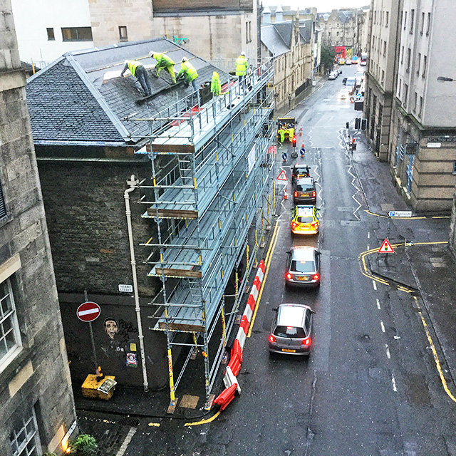 Cowgate  -  Looking east down the Cowgate from South Bridge to Holyrood Road, 2016