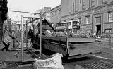 Erecting a bus shelter outside Edinburgh Central Library, 2011