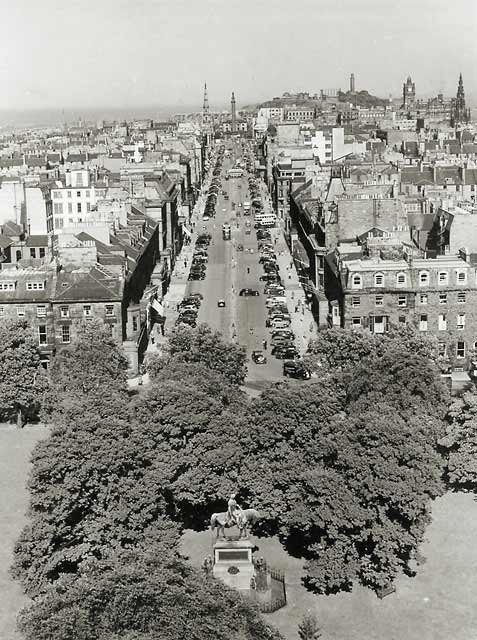 Photograph by Norward Inglis  -  George Street from the roof of St George's Church in Charlotte Square