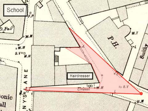 Detail from an 1894 map showing the corner of Giles Street and Green Jenny's Close