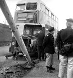Granton Road  -  Road Accident  -  Bus hits lamp post, 1974