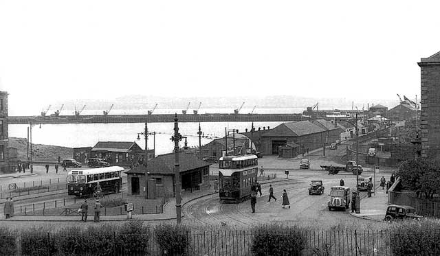 Looking to the north across Granton Square towards Granton Western Harbour and Fife