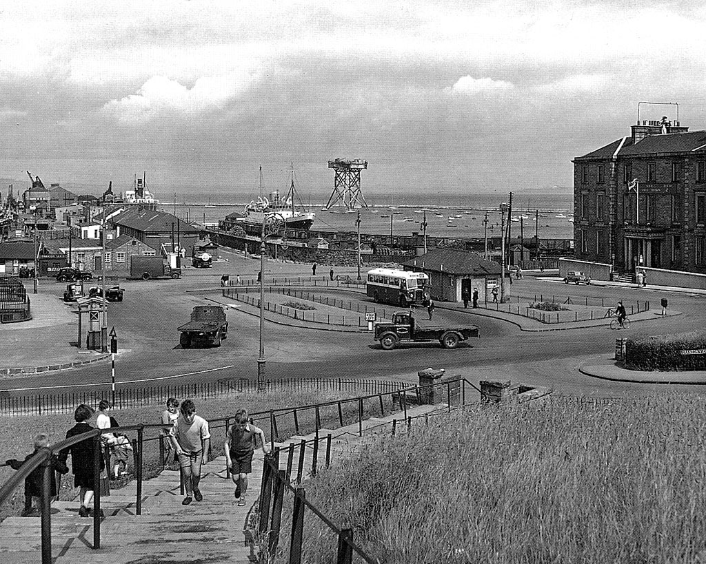 Looking down on Granton Square and across to Granton Harbour  -  Photograph possibly taken around 1950