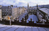 Looking down the Royal Mile from the roof of St Gile's Church