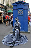 Police Box and Street Entertainer in the High Street, during the Edinburgh Festival Fringe, 2010