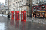 Telephone Boxes in the High Street. Edinburgh, November 2010