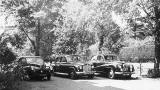 Students' cars parked in the front garden of No 35 Inverlieth Terrace  -  around 1968