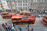 Looking down on open-top bus in Lawnmarket, Edinburgh