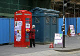 Royal Mile  -  Telephone box and police box in Lawnmarket