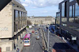 Looking to the north down Leith Street from the pedestrian bridge over the street