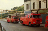 Fire engines facing south in Leith Street.  @The Bridge to Nowhere' is in the background.