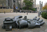 Sculptures on the pavement outside St Mary's Cathedral at the top of Leith Walk  - 'Hand'  by Eduardo Paolozzi