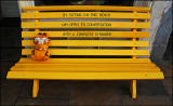 Garfield stops for a rest at the Yellow Bench cafe, half way down Leith Walk