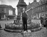 JH Hoy, Labour candidate,  on his soapbox at the foot of Leith Walk  for his General Election Campaign - May 1955