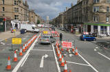 Traffic cones and road signs at Leith Walk, Pilrig.  Road works are to enable work to be carried out for the introduction of new trams for Edinburgh