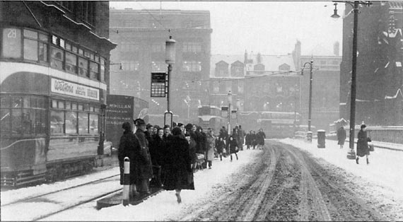 Lothian Road  -  Looking towards Princes Street  -  Waiting in the snow for a tram