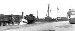 Train and Bus beside Granton Harbour at Granton Square - 1958