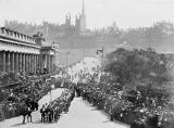 Magistrates wait at the foot of the Mound as a Procession of Masons passes along Princes Street to commemorate the Laying of the Foundation Stone for North Bridge, 1896