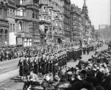 Image from the start of a film clip of a parade along Princes Street, during Allies Week in Edinburgh, 1942